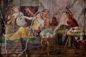 Romeins fresco van een banket uit het Huis van de Jacht in Pompeii