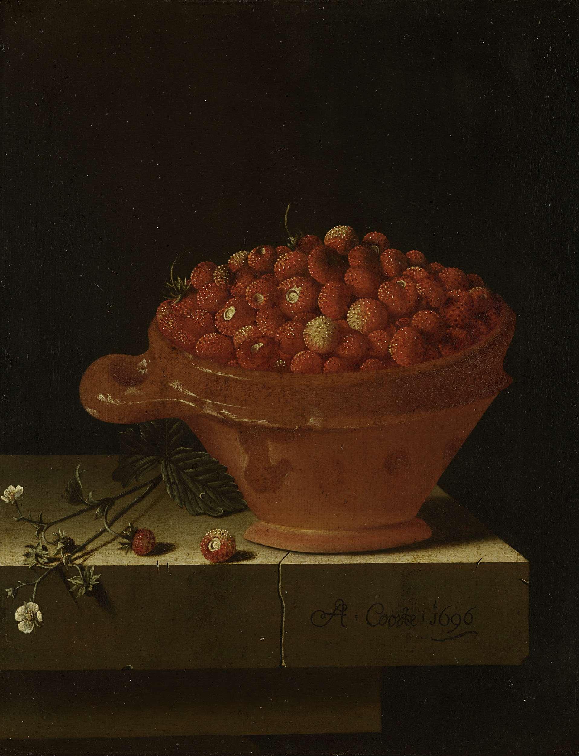 Testje met aardbeien, Adriaan Coorte, 1696, RMA