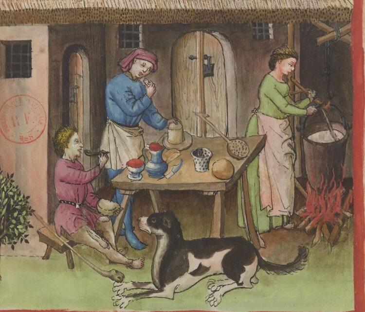 In de keuken, Tacuinum sanitatis, 14e eeuw, Bibliothèque nationale de France